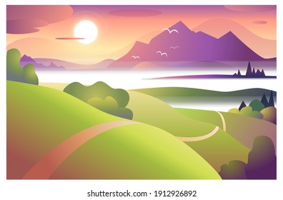 Picturesque landscape with foggy sunset. Colored vector illustration.