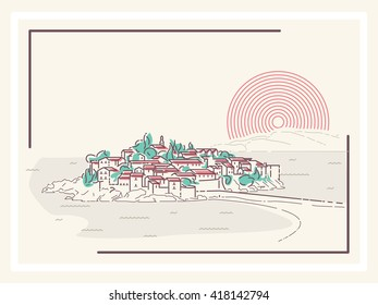 Picturesque Mediterranean Town - minimalistic vector illustration