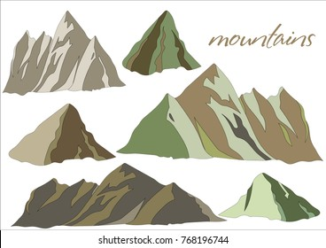 Picturesque mountains. Rocky terrain. Variety of mountain massif