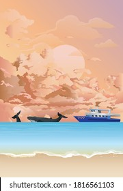 Picturesque tropical island beach scene with tourism whale watching boat at sea set against a dawn or dusk pink sky