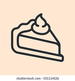 Pie Cake Slice Piece Minimal Flat Line Outline Stroke Icon Pictogram Symbol