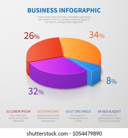Pie chart 3d graph vector design with percentages and options for business presentation. Illustration of pie graphic for business, chart circle and diagram