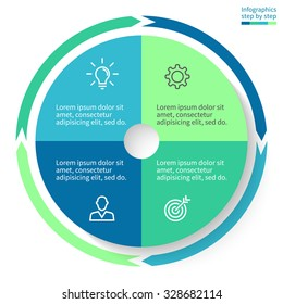 Pie chart with 4 steps, options, parts, processes, section. Vector business template in blue and green for presentation, report, training.