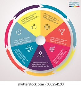 Pie chart with 7 steps, options, parts, processes, section. Vector business template for presentation, report, training.