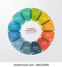 Pie chart circle infographic template with 12 options. Business concept. Vector illustration.