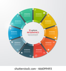 Pie chart circle infographic template with 10 options. Business concept. Vector illustration.