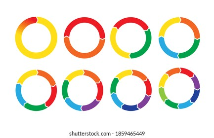 Pie chart circular diagrams with arrows. Business infographic circle sections and round donut pieces.