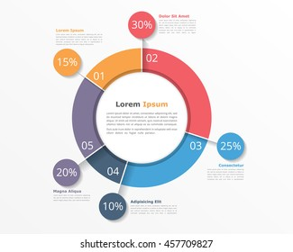 Pie chart design template, business infographics for presentations and reports, vector eps10 illustration