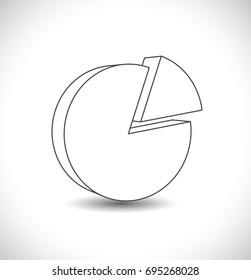 pie chart diagram outline icon 3d