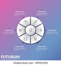 Pie chart divided into 6 parts and round element in center with thin line symbols and arrows pointing at text boxes. Concept of remote control button. Infographic design layout. Vector illustration.