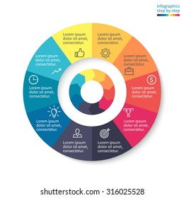 Pie chart, graph, diagram with 10 steps, options, parts, processes with arrows. Vector business template for presentation and training.