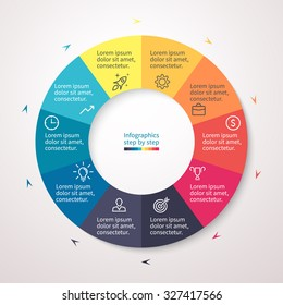 Pie chart, graph, diagram with 10 steps, options, parts, processes with small arrows. Vector business template for presentation and training.