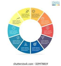 Pie chart, graph, diagram with 10 steps, options, parts, processes. Vector business template in blue and yellow for presentation.