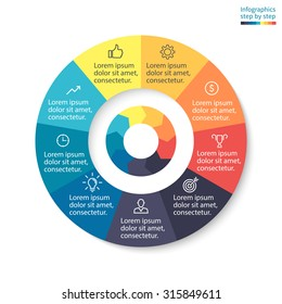 Pie chart, graph, diagram with 9 steps, options, parts, processes with arrows. Vector business template for presentation and training.