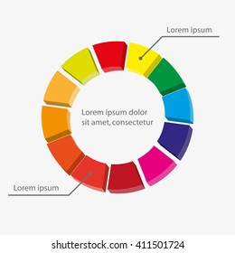 Pie  chart graphic template for business design, infographics, reports, progress, websites, step presentation or workflow layout.