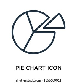 Pie chart icon vector isolated on white background, Pie chart transparent sign , linear pictogram or outline logo design in lined style