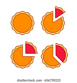 Pie chart illustration set with real pies, pumpkin and berry. Simple flat vector infographic icons.