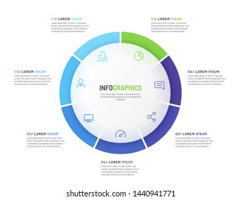 Pie chart infographic template divided by seven parts. Vector illustration.