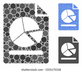 Pie chart report page composition of small circles in various sizes and color tints, based on pie chart report page icon. Vector random circles are organized into blue composition.