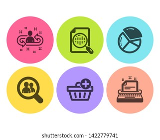 Pie chart, Search employees and Analytics chart icons simple set. Recruitment, Add purchase and Typewriter signs. Presentation graph, Staff analysis. Business set. Flat pie chart icon. Circle button