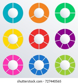 Pie chart set with 2,3,4,5,6,7,8,9,10 parts or sections. Circle diagram, graph, business presentation and chart. Colorful wheel infographics template. Vector illustration.