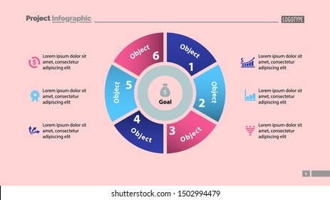 Pie chart with six parts template. Business data infographic diagram design. Creative concept for infographic presentation template. Can be used for topics like management, marketing, analysis.