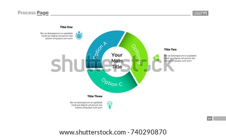 pie chart three options template stock vector royalty free