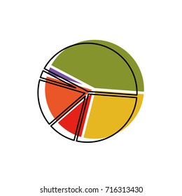 pie chart in watercolor silhouette vector illustration