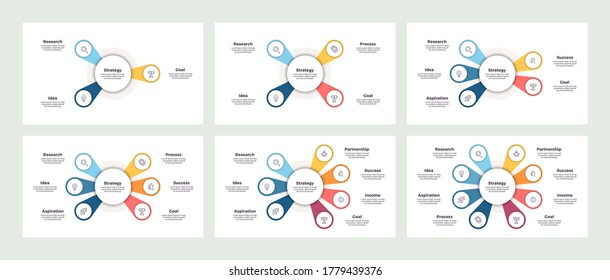 Pie charts, diagrams for infographics with 3, 4, 5, 6, 7, 8 steps, options. Vector charts.