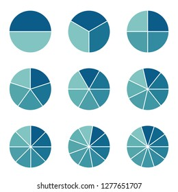 Pie Charts -  Different Subdivisions - Vector Illustration - Isolated On White Background