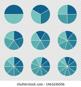 Pie Charts -  Different Subdivisions - Vector Illustration - Isolated On Transparent Background