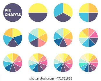 Pie charts for infographics. Elements with 1, 2, 3, 4, 5, 6, 7, 8, 9, 10, 11, 12 steps, options.