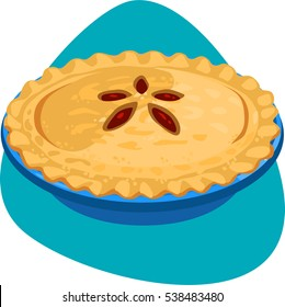 Pie with cherry stuffing, crusty rim and decorated top in blue ceramic pie pan. Isolated on blue background.