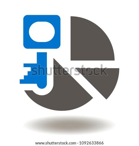 Pie Diagram Key Icon Vector Success Stock Vector Royalty Free