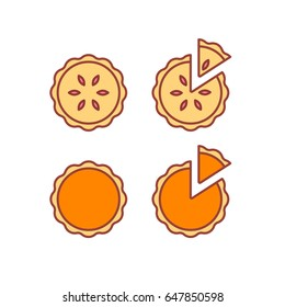 Pie icons set, isolated vector illustration. Traditional pumpkin and strawberry pies, whole and cut piece. Modern simple flat line style icons.