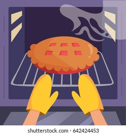 Pie in the oven. Hands in kitchen gloves. Vector. Cartoon. Flat