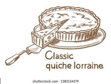 Pie quiche lorraine vector sketch hand drawing