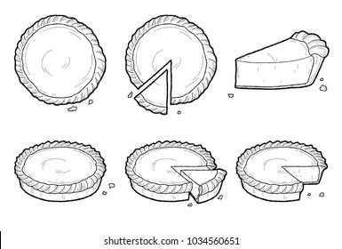 Pie Vector Illustration Hand Drawn Dessert Cartoon Art