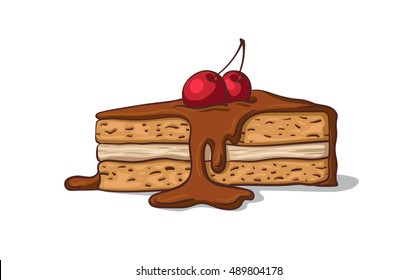 A piece of cake with a cherry.