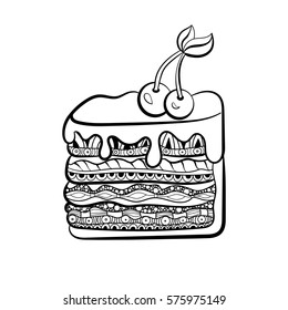 piece of cake for coloring book for adults. Zentangle style. Black and white illustration