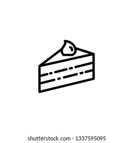 Piece of cake line and glyph icon  sweet and food  pie sign  vector graphics  a linear pattern on a white background  eps 10.