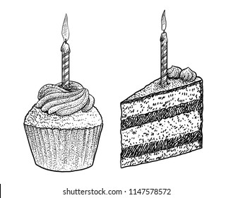 Piece of cake and muffin with candle illustration, drawing, engraving, ink, line art, vector