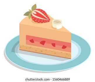 Piece of cake on plate illustration strawberry jelly biscuit dessert