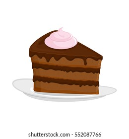 Piece of cake on plate. pie isolated. Dessert on white background. Sweets cakes. Cream and biscuit. Birthday confectionery food