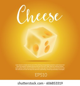 Piece of cheese isolated on orange background