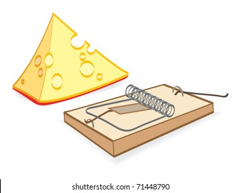 A piece of cheese and mouse trap. Vector illustration EPS-8
