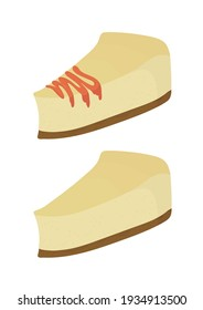 A piece of cheesecake with topping. Isolated vector on a white background.