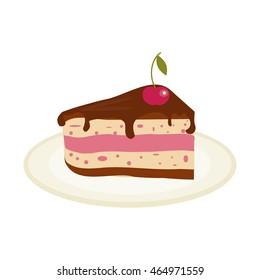 Piece of chocolate cake with cream and cherry birthday tasty bake. Vector illustration chocolate piece cake slice. Sugar gourmet pastry cake slice sweet delicious pie dessert food.