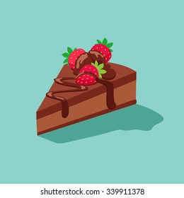 piece of chocolate cake with strawberries