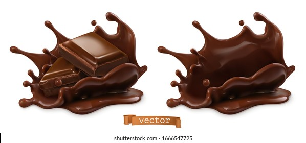 Piece of chocolate and chocolate splash. 3d vector realistic food objects